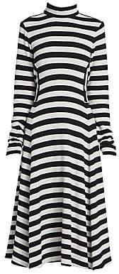 Marc Jacobs Women's Runway Striped Wool Jersey Mockneck Dress - Size 0