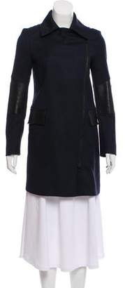 Belstaff Leather-Accented Wool Coat