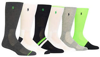 Polo Ralph Lauren Six-Pack Mixed Pattern Crew Socks