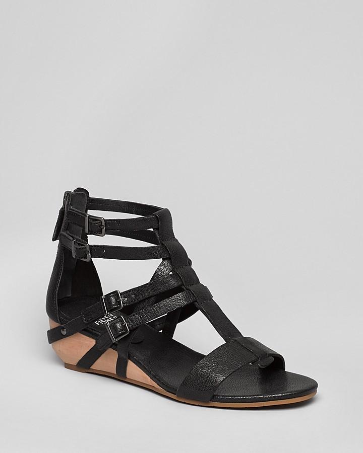 Eileen Fisher Gladiator Demi Wedge Sandals - Echo