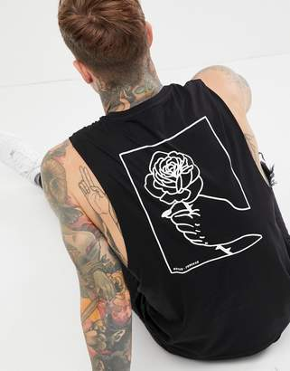 Asos DESIGN sleeveless t-shirt with hand and rose back print