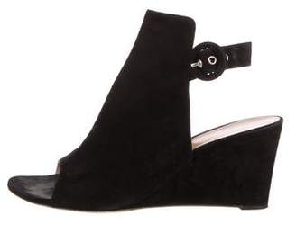 Gianvito Rossi Suede Peep-Toe Wedges
