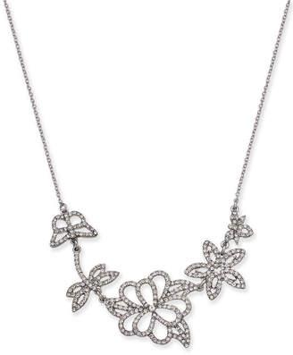 "INC International Concepts I.n.c. Woman Silver-Tone Pave Flower Pendant Necklace, 16"" + 3"" extender"
