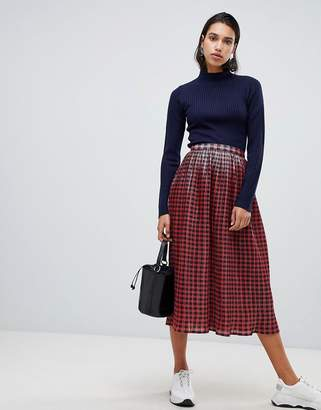 Asos Design DESIGN metallic check pleat midi skirt
