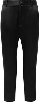Nili Lotan Paris Cropped Silk-charmeuse Pants - Black