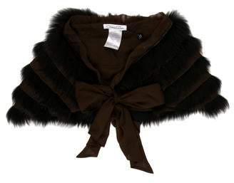 Oscar de la Renta Fox Fur-Trimmed Scarf w/ Tags