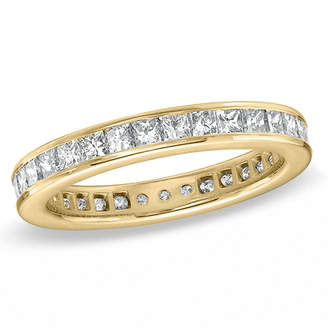 Zales 2 CT. T.W. Certified Princess-Cut Diamond Eternity Wedding Band in 18K Gold (G/SI2)