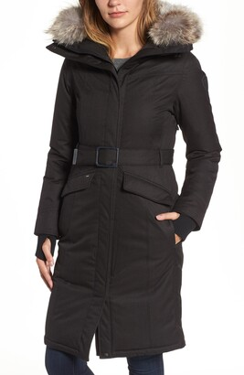 Nobis Morgan Long Belted Down Parka with Genuine Coyote Fur Trim