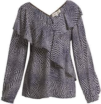 Diane von Furstenberg Easton polka-dot print silk wrap top