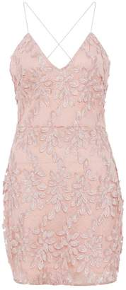 Quiz Pink Lace Floral Bodycon Dress
