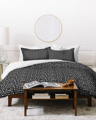 Deny Designs Little Arrow Design Co Dotty Stripes Neutral Duvet Cover Set