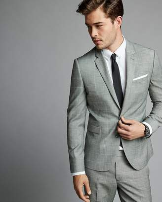 Express Extra Slim Gray Textured Windowpane Wool Blend Suit Jacket