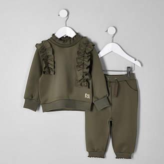 River Island Mini girls khaki frill sweatshirt outfit