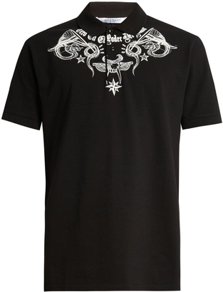 GIVENCHY Columbian-fit tattoo-print polo shirt $595 thestylecure.com