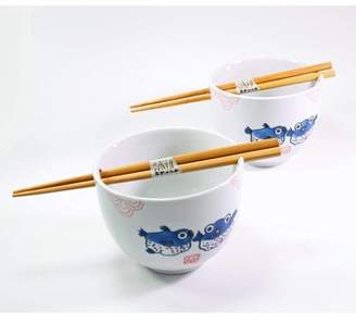 JuJu Smiling Set of 2] Japanese Porcelain Ceramic Bowls w Chopsticks Ramen Soup Noodle Porridge Menudo Ramen Udon Pasta Cereal Ice cream Pho Rice Instant Noodle New