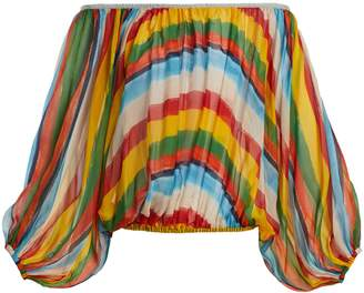 Dolce & Gabbana Striped silk-chiffon off-the-shoulder blouse