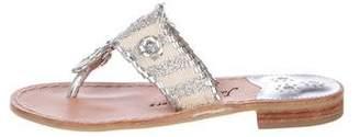 Jack Rogers Metallic Leather Slide Sandals