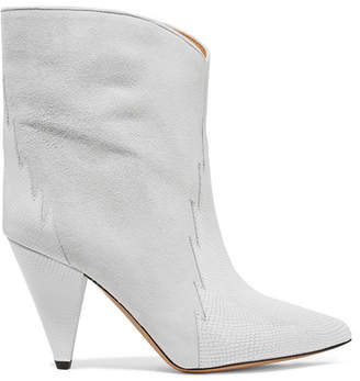 731e894fa3a Isabel Marant Leider Suede And Lizard-effect Leather Ankle Boots - Off-white