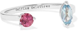 Delfina Delettrez 18-karat White Gold, Aquamarine And Tourmaline Ring