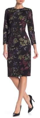 Rachel Roy Foil Floral Print Scuba Sheath Dress