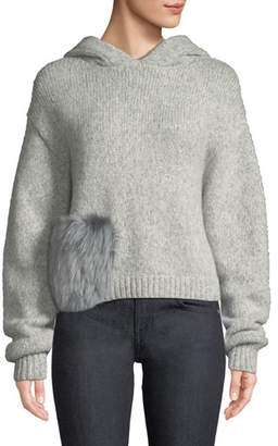Tibi Alpaca Fur-Pocket Hooded Pullover Sweater