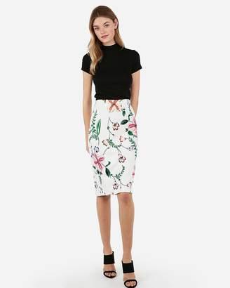Express Floral Printed Pencil Skirt