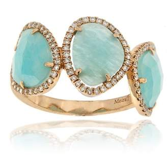 Meira T 14K Rose Gold Blue Amazonite & Diamond Ring