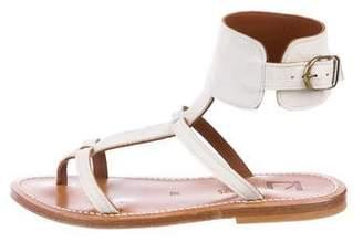 K Jacques St Tropez Suede T-Strap Sandals