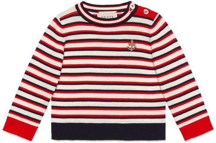 Baby striped cotton sweater with anchor
