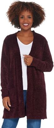 Denim & Co. Petite Chenille Long- Sleeve Open- Front Cardigan