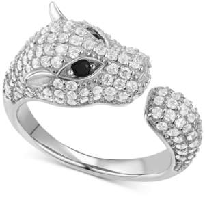 Macy's Cubic Zirconia Pave Panther Cuff Ring in Sterling Silver