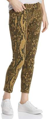 Current/Elliott The Stiletto Snake-Print Cropped Skinny Jeans in Large Burmese Python