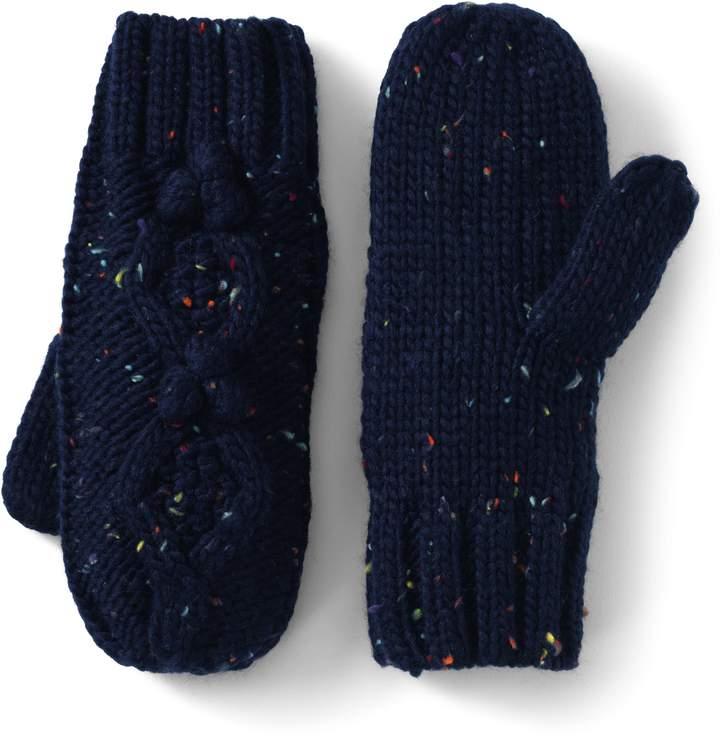 Lands'end Women's Aran Popcorn Knit Mittens