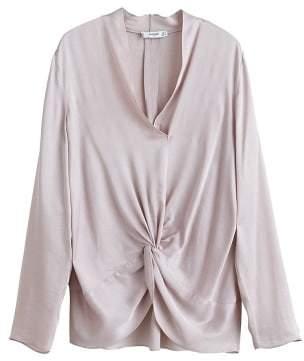 MANGO Satin knot blouse