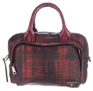 pradaPrada Crocodile-Trimmed Handle Bag