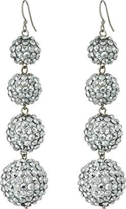 Kenneth Jay Lane Women's Graduated 4 Ball Sparkly Fish Hook Top Ear Earrings