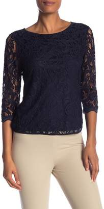 Adrianna Papell 3\u002F4 Length Sleeve Lace Blouse