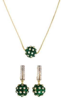 Amrapali 18K Emerald & Diamond Necklace & Earring Set