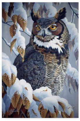 "Goebel Wilhelm 'Winter Watch Great Horned Owl' Canvas Art - 16"" x 24"""