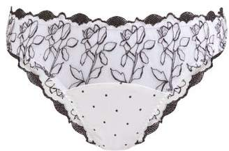 Fleur of England Floral Embroidered Tulle And Satin Briefs - Womens - White Black
