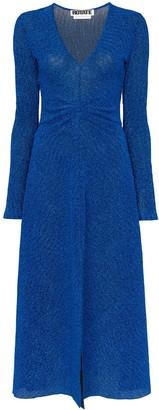 Rotate gathered waist lurex midi dress