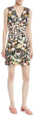 Peter Pilotto V-Neck Sleeveless Floral-Print Cady Mini Dress