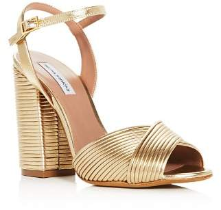 Tabitha Simmons Women's Kali Pleated Leather Block Heel Sandals