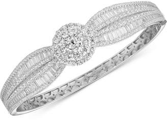 Tiara Cubic Zirconia Baguette Cluster Bangle Bracelet in Sterling Silver