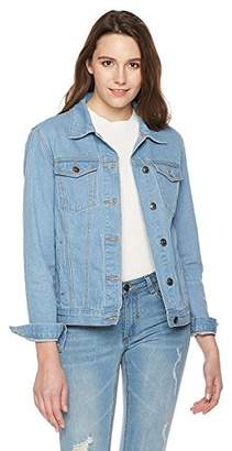 Parker Lily Women's Classic Flower Embroidery Button Down Denim Jacket