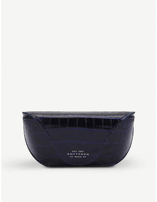 Smythson Mara crocodile-embossed calf leather sunglasses case