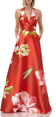 9380ee8db6d Kay Unger New York Floral-Printed Mikado Halter Gown with Pockets