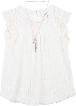 Speechless Girls 7-16 Lace Overlay Tunic Top with Necklace