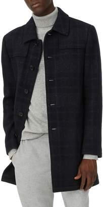 Club Monaco Luther Trim Fit Plaid Wool Blend Coat