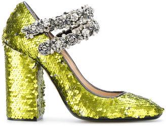 sequins embellished pumps